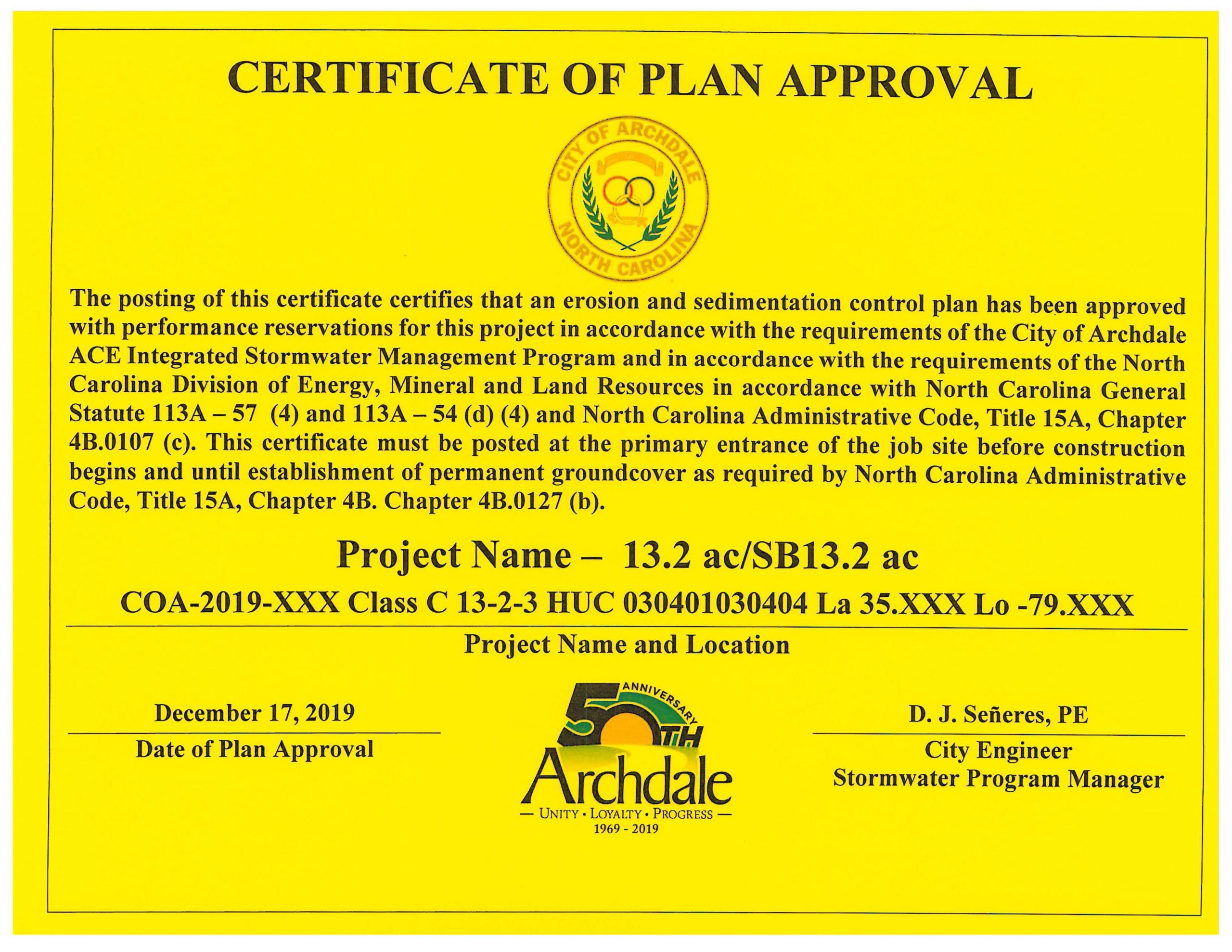 Certificate of Plan Approval